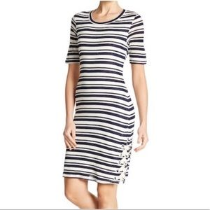 Splendid Striped Topsail Lace Up Bodycon Dress M